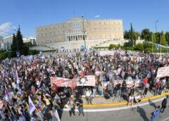 Στιγμιότυπα από το απεργιακό συλλαλητήριο και δηλώσεις των Γ. Στεφανάκη και Μ. Καμηλάκη (photos-video)